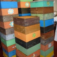 Colorful honey boxes.