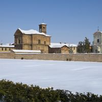Lucedio abbey covered in snow.